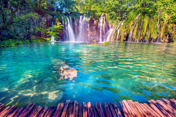 Foto op Canvas Watervallen Magical beautiful, breathtaking scenic scenery with waterfalls in the national reserve in Plitvice, Croatia. Charming places.