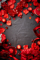 Love and Valentines day concept. Red roses petals, candles, dating accessories, boxed gifts, hearts, sequins on black stone background, frame composition, top view. Layout for greeting card