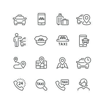 Taxi related icons: thin vector icon set, black and white kit