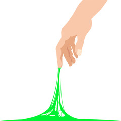 Sticky slime reaching stuck for hand, green banner template. Popular children s sensory toy vector illustration. Cartoon liquid slime isolated background. Abstract design element, isolated