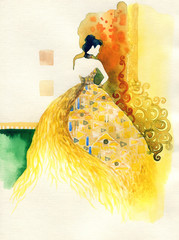 golden fantasy dress. beautiful woman. fashion illustration. watercolor painting