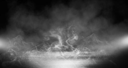 Black background of empty street, room, spotlight illuminates asphalt, smoke
