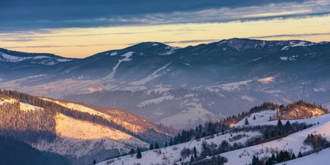 winter sunrise in mountains. beautiful carpathian wonderland. countryside with snow covered rolling hills. good morning wonderful nature