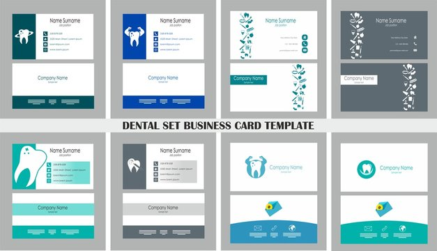 Dental set business card. 8 different card with logo, elements - vector illustration