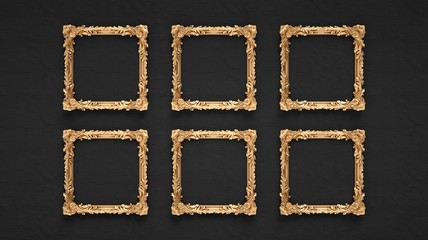 Six golden ornamental frames