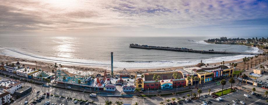 SantaCruz California USA Sonnenuntergang Luftbild Stadt Meer Himmel Pier