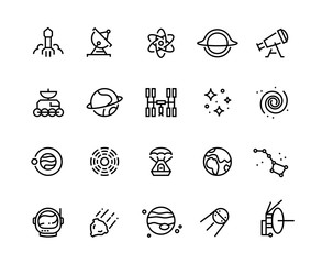 Space line icons. Cosmic astronomy galaxy astronaut rocket launch meteor space telescope planets and stars. Cosmos vector illustration