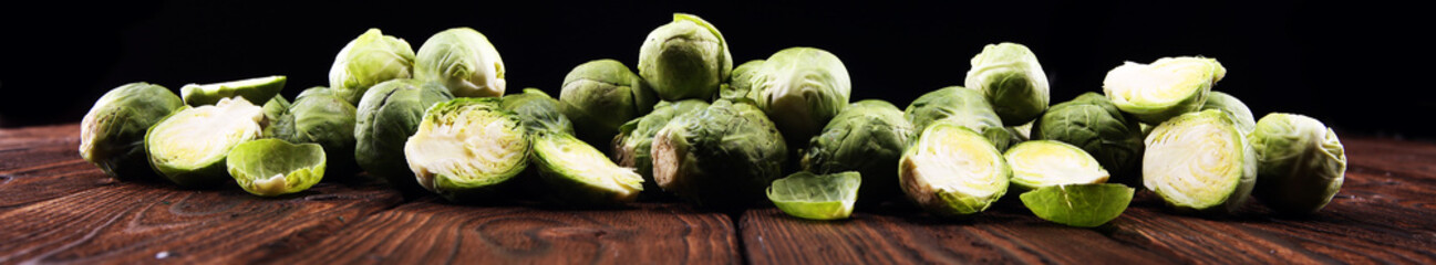 Foto op Canvas Brussel organic Brussels sprouts. Antioxidant balanced diet eating with Brussels sprouts