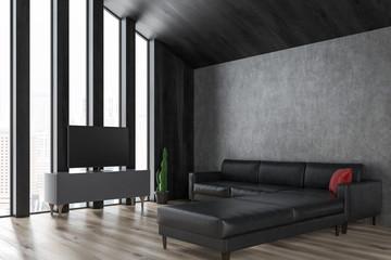 Attic living room, tv and sofa