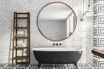 White brick bathroom, tub and mirror