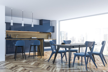 Blue panoramic kitchen with bar