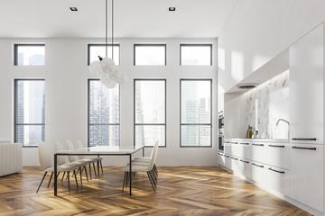 White loft kitchen interior, table