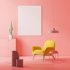 Pink living room, armchair and poster