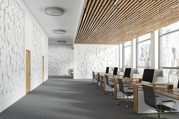 White hexagonal pattern office interior