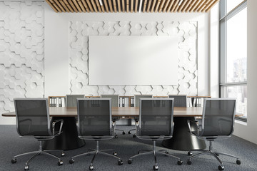 Hexagon pattern meeting room interior, poster
