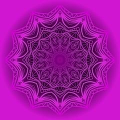 Purple color Ornamental arabic pattern with mandala. Vector illustration. Tribal ethnic fashion design for paper, textile print
