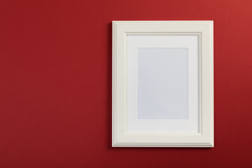 white frame on red and gray background