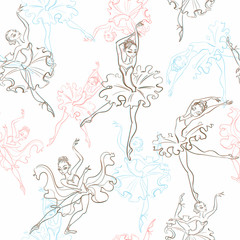 Ballerinas. Seamless pattern. Little princess Dance Vector illustration