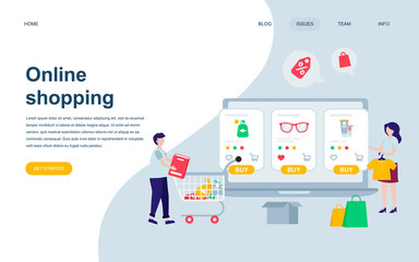 Modern flat web page design template of Online Shopping decorated people character for website and mobile website development. Flat landing page template. Vector illustration.
