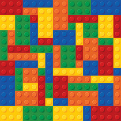 High quality seamless background of colored plastic bricks. More realistic. The colors don't mix with each other. The amount of details is equal by shape and color. Every kit detail is grouped. CMYK
