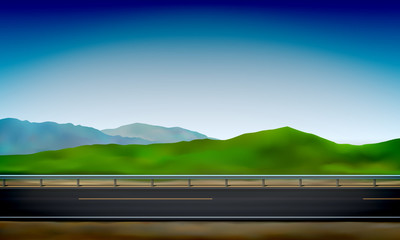 Roadside view with a crash barrier, green nature and clear blue sky background, road, vector illustration