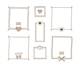 Set of decorative vintage frames with hearts. Elements for Valentine's Day, birthday, wedding. Doodles, sketch for your design. Vector illustration.