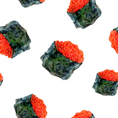 Watercolor hand drawn sushi caviar isolated seamless pattern.