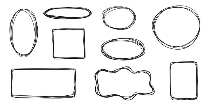 Hand drawn frames on white. Abstract frameworks. Line art. Set of different shapes. Black and white illustration. Doodles for artwork