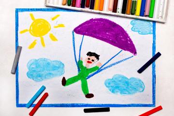 Colorful drawing: skydiving. Parachute jumping