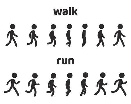 Character animation walk and run cycle