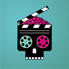 Movie poster with clapper and zombie head. Cinema vector illustration. Horror video film concept.