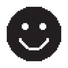Smile icon. Happy face symbol. Pixel art.