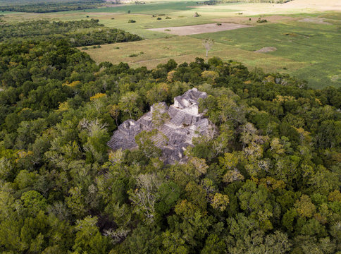 Aerial view over Mayan ruins of Dzibanche and Kinichna in Mexico.