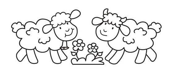 sheep with bell and lamb, cute picture, coloring book