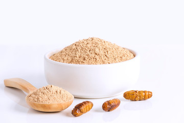 Silkworm Pupae (Bombyx Mori) Flour powder insects for eating as food items made of cooked insect meat in bowl and spoon on white background is good source of protein edible for entomophagy concept.