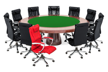 Business meeting with boss concept, 3D rendering