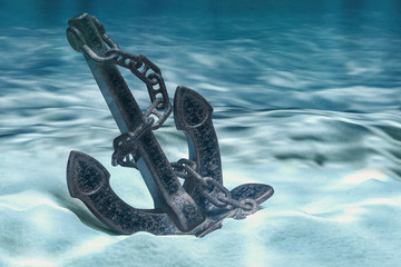 Anchor on ocean bottom underwater. 3D rendering