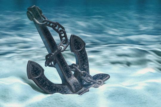 Anchor on ocean bottom underwater. 3D rendering