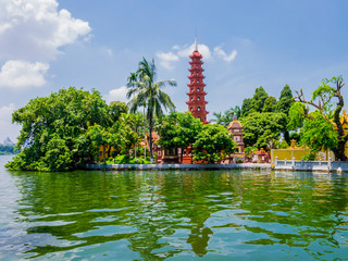 Foto op Canvas Asia land Stunning view of Tran Quoc Pagoda, the oldest temple in Hanoi, Vietnam