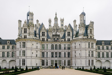 Front entrance of the castle of Chambord in France