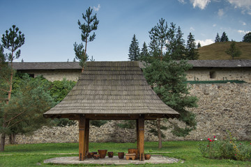 Vatra Moldovitei, Romania, Moldovita Monastery,September ,2017,inner  yard