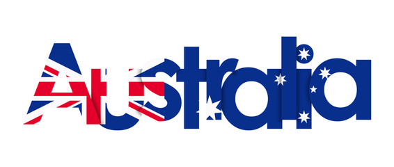 Australia lettering on white background