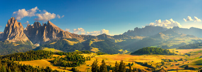 Alpe di Siusi or Seiser Alm and Sassolungo mountain, Dolomites Alps, Italy. Wall mural