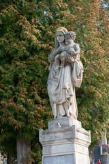 Old statue on Lychakiv Cemetery in Lviv, Ukraine