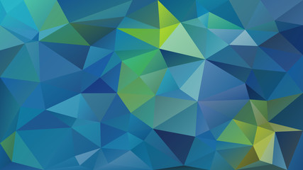vector abstract irregular polygon background - triangle low poly pattern - middle blue and lime green color
