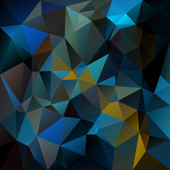 vector abstract irregular polygon background - triangle low poly pattern - dark indigo blue green peacock color