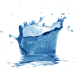 blue water on a white background