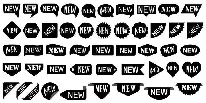 Black NEW speech bubbles, sale labels set.