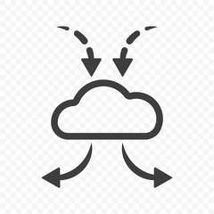 Icon cloud to store files downloading and transfer of information from various devices. Abstract vector image on a transparent background