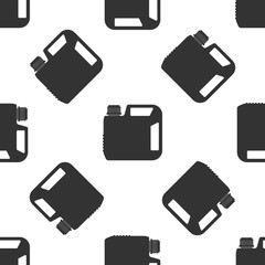 Plastic canister for motor machine oil icon seamless pattern on white background. Oil gallon. Oil change service and repair. Engine oil sign. Flat design. Vector Illustration